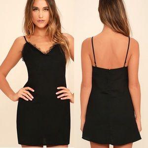 Lulu's My Desire Black Lace Slip Dress